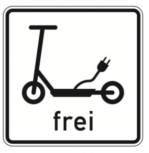 E-Scooter frei Verkehrsschild